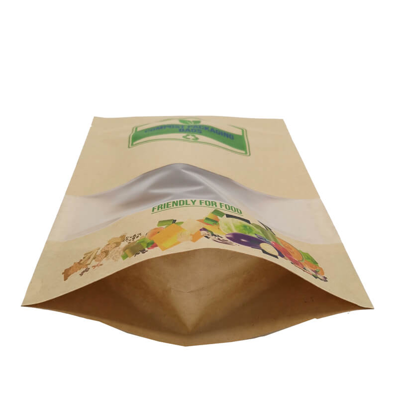 2.ECO friendly stand up packaging kraft paper bags with window and zipper   (10)