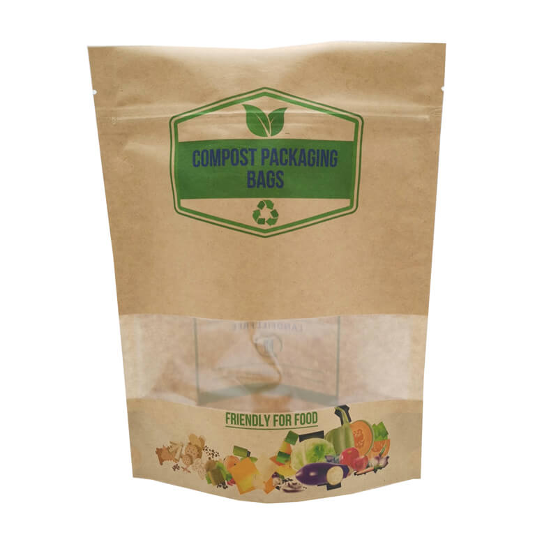 2.ECO friendly stand up packaging kraft paper bags with window and zipper   (12)
