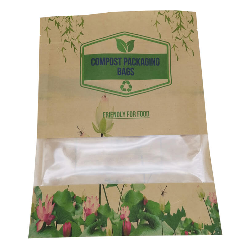 2.ECO friendly stand up packaging kraft paper bags with window and zipper   (2)