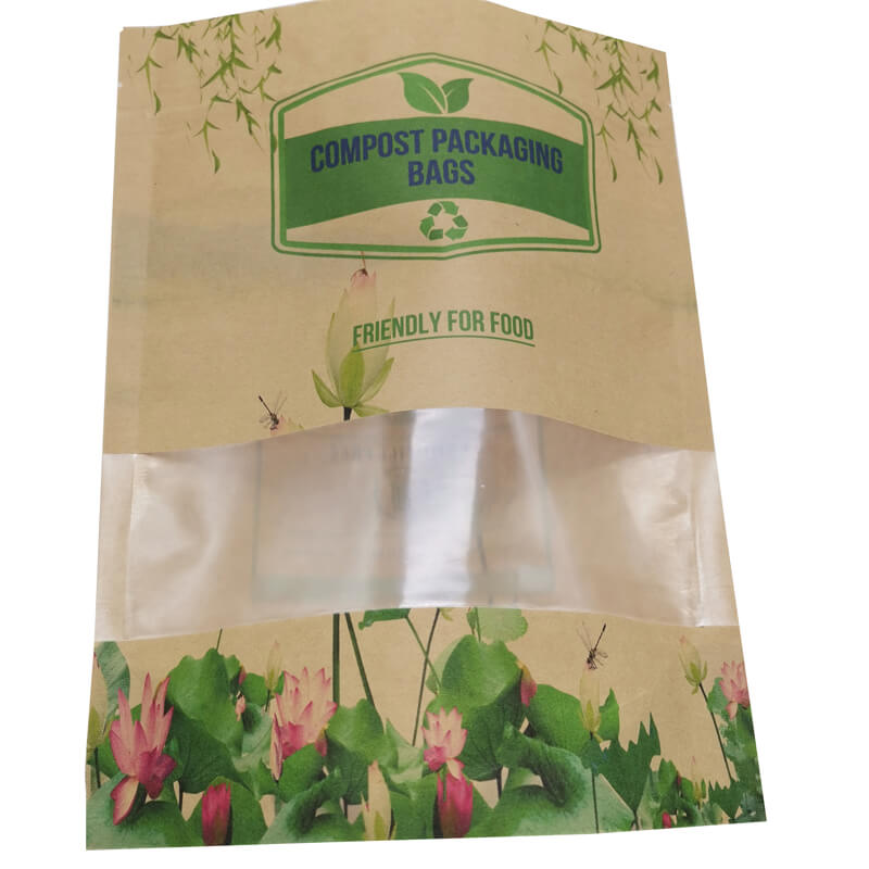 2.ECO friendly stand up packaging kraft paper bags with window and zipper   (3)