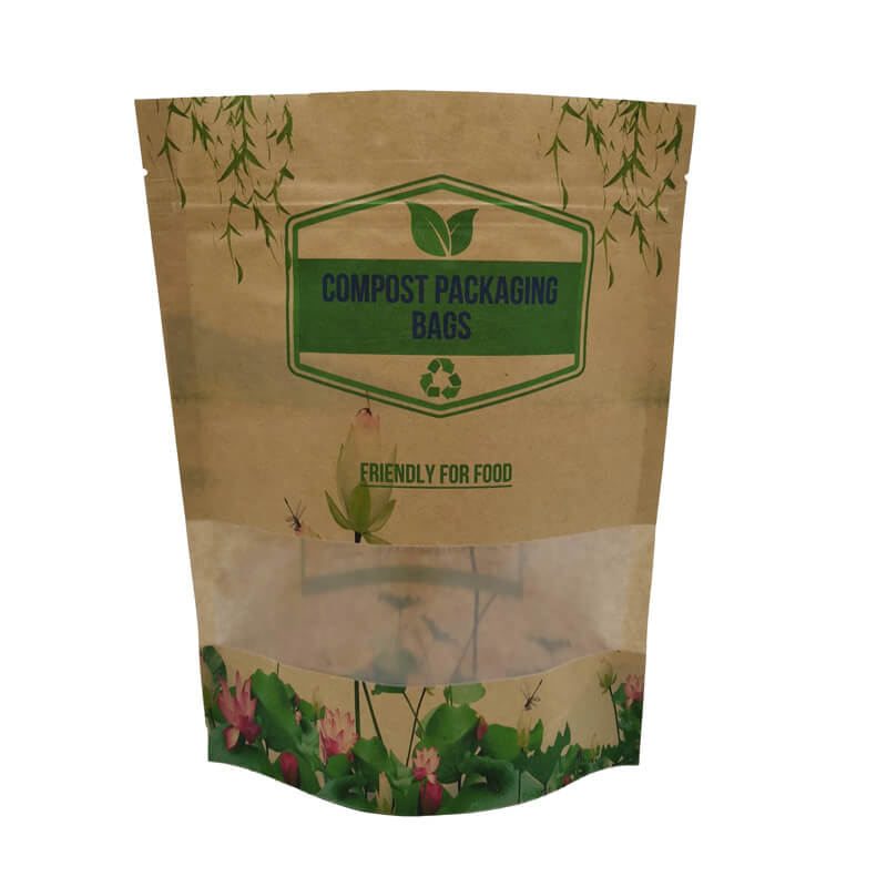 2.ECO friendly stand up packaging kraft paper bags with window and zipper   (5)