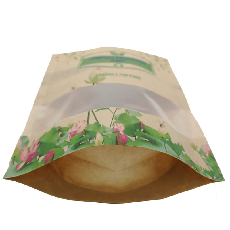 2.ECO friendly stand up packaging kraft paper bags with window and zipper   (6)