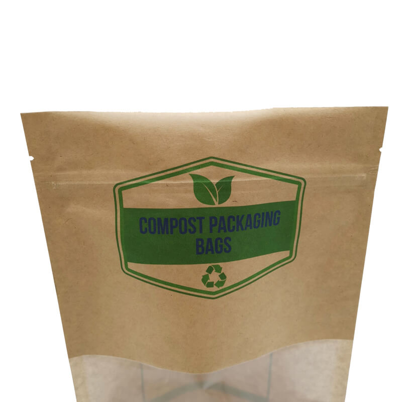 2.ECO friendly stand up packaging kraft paper bags with window and zipper   (9)