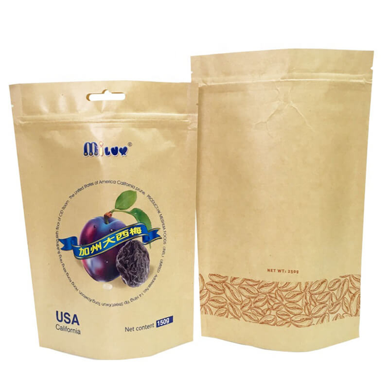 Brown craft paper dried fruit packing bags with two different side (1)