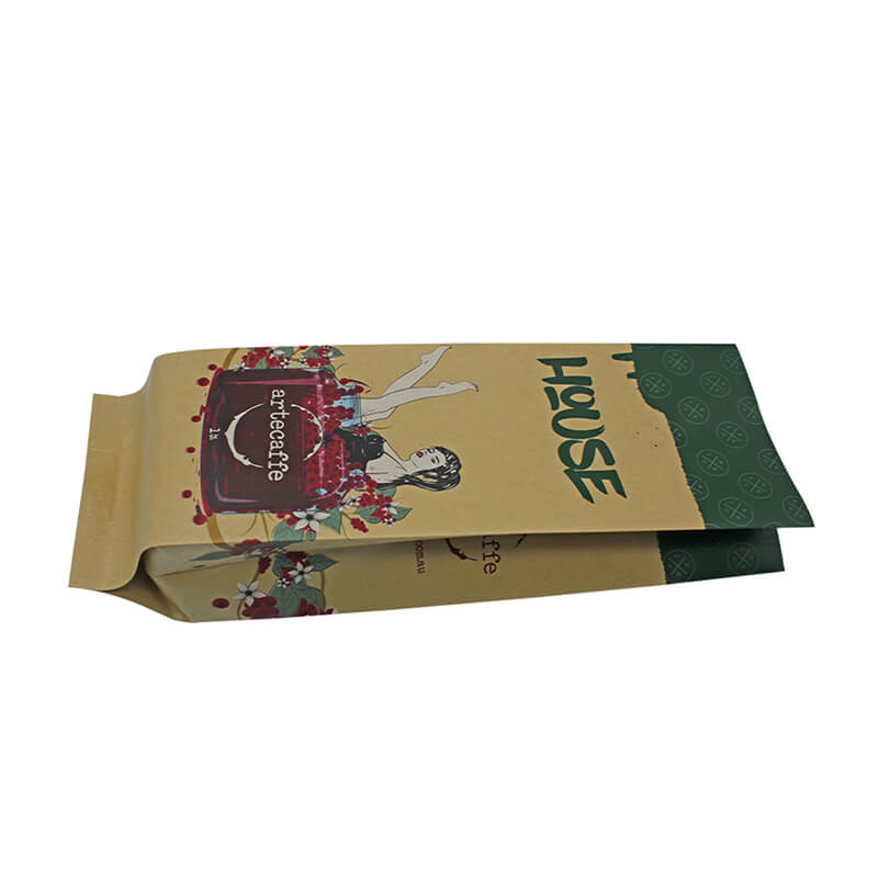 Recycle craft paper health food packaging bag with biodegradable air valve (4)