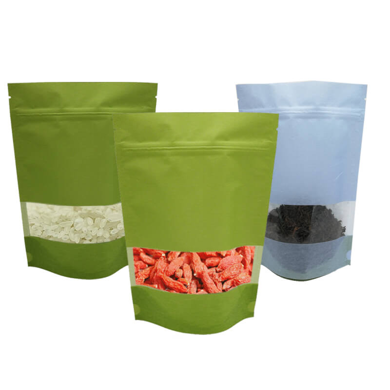 Stand up craft paper rice packaging bags with window (9)