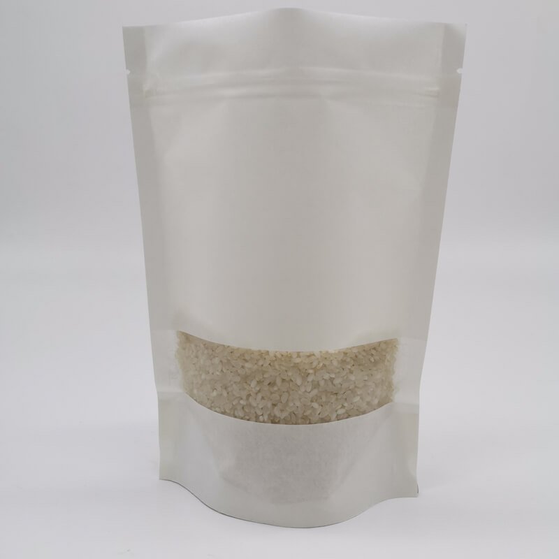 Stand up white craft paper rice packaging bags with window (3)