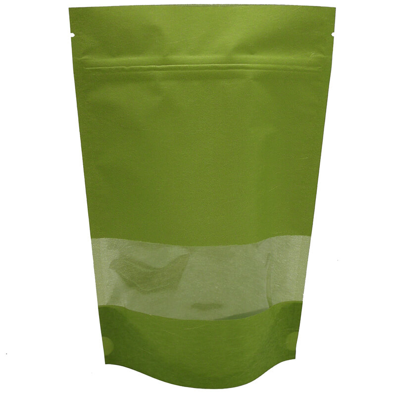 Stand up craft paper rice packaging bags with window (1)