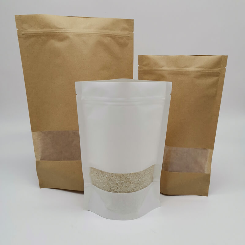 Stand up white craft paper rice packaging bags with window (6)