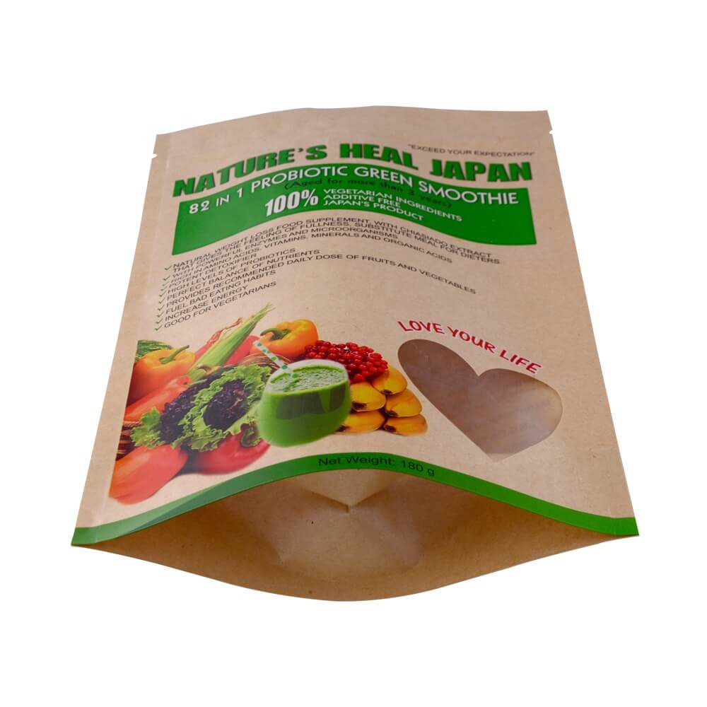 Biodegradable stand up dried fruit packaging bags with transparent heart window ( (4)