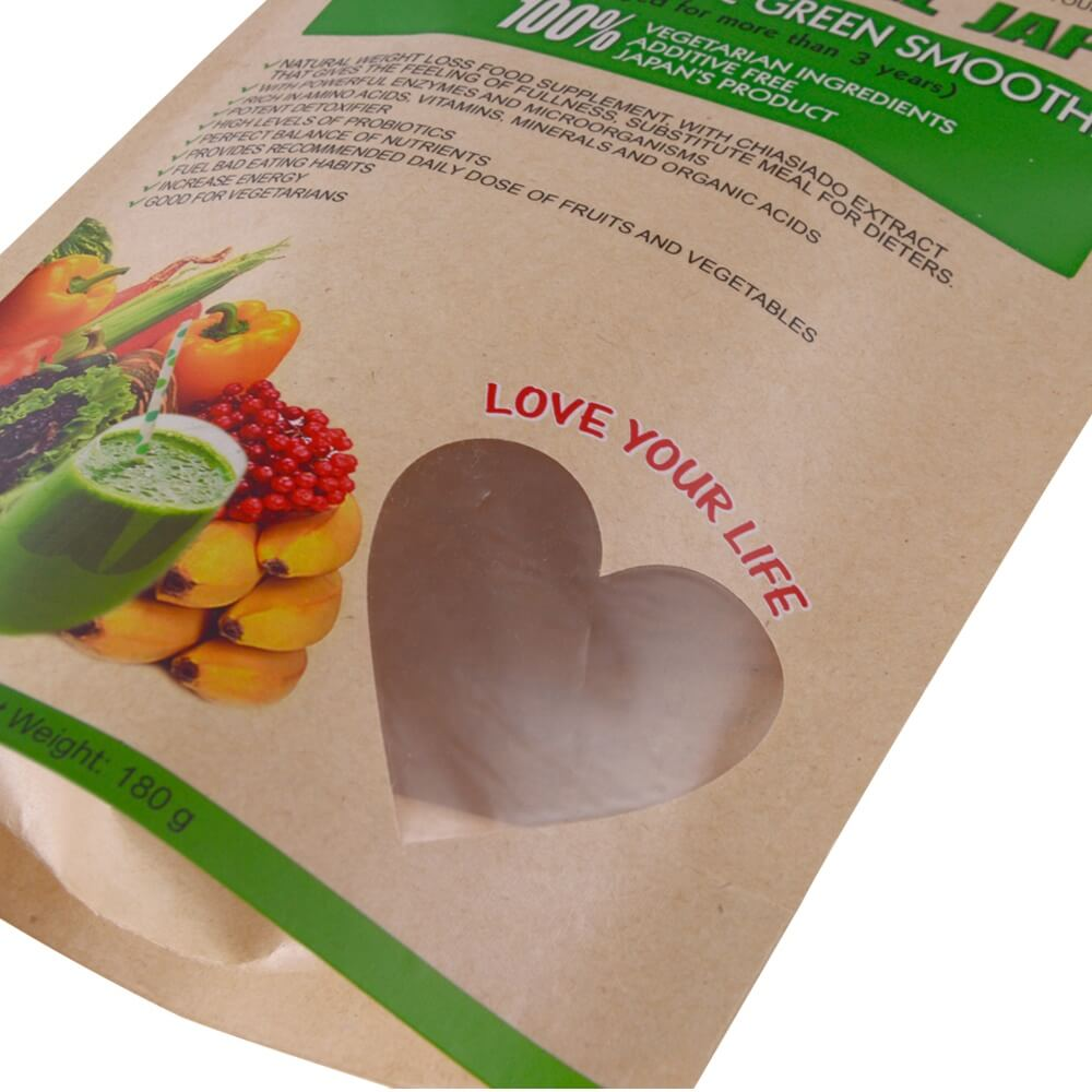 Biodegradable stand up dried fruit packaging bags with transparent heart window (